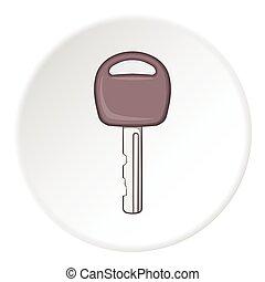 Car key icon, cartoon style - Car key icon. Cartoon...