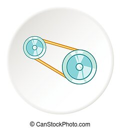 Timing belt icon, cartoon style - Timing belt icon. Cartoon...
