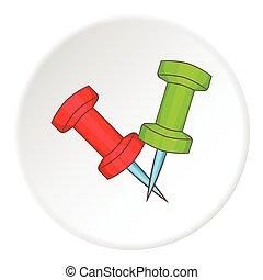 Pushpin icon, cartoon style