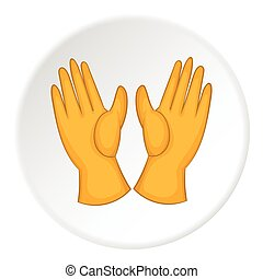Rubber gloves icon, cartoon style - Rubber gloves icon....
