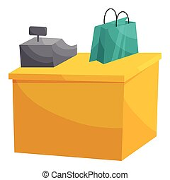 Supermarket cashbox concept, cartoon style - Supermarket...