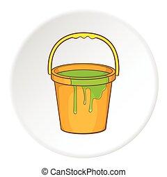 Bucket of paint icon, cartoon style