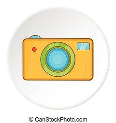 Camera icon, cartoon style
