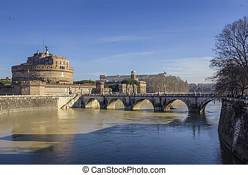Castel Sant'Angelo - View of the Castel Sant'Angelo in Rome,...