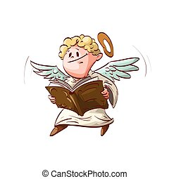 Cartoon cute angel, holding a book - Colorful vector...