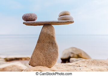 Well-balanced of stones - Balancing of pebbles on the top of...