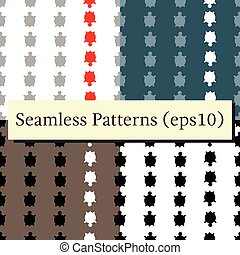 Vector seamless turtle patterns set - Vector seamless...