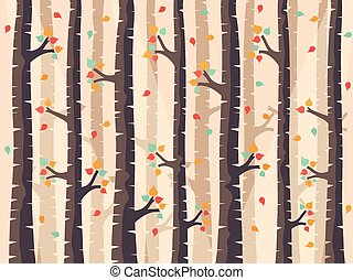 Forest Background - Autumn Birch Forest Background with...
