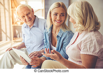 Daughter and her mature parents - Beautiful old couple and...