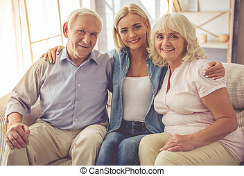 Daughter and her mature parents