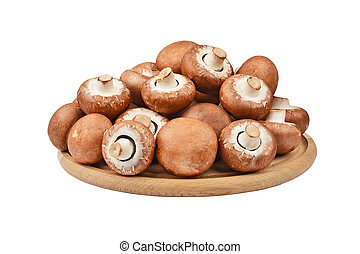 Champignon (True mushroom) on wooden board, isolated on...