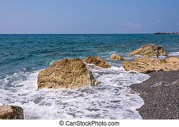 Rocky Italian coast in Campora San Giovanni in Calabria