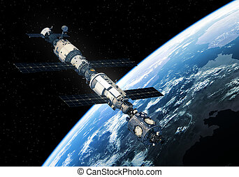 International Space Station Orbiting Earth. 3D Illustration.