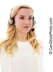 Closeup portrait of happy customer service representative wearing headset.