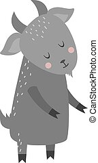 Cute cartoon gray goat mammal farm animal vector. - Cartoon...