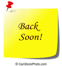 back soon paper note