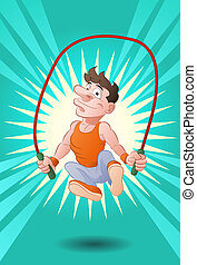 man doing rope skipping - illustration of a man doing...