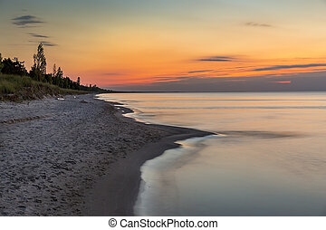 Lake Huron Beach after Sunset - Ontario, Canada - Lake Huron...