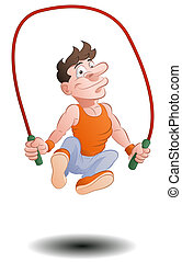 jumping rope skipping - illustration of a man doing jumping...