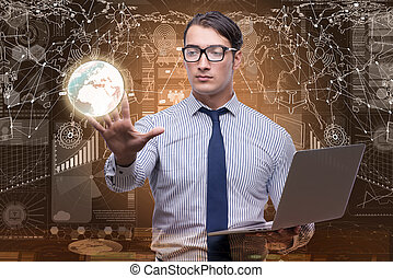 Businessman in data mining concept with laptop