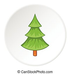 Fur tree icon, cartoon style - Fur tree icon. Cartoon...