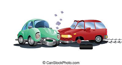 destroyed car a crash - illustration of a red car destroyed...