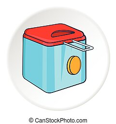 Fryer icon, cartoon style - Fryer icon. Cartoon illustration...