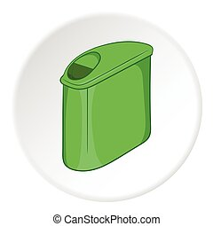 Trash can with lid icon, cartoon style - Trash can with lid...