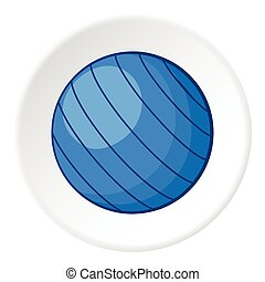 Blue volleyball ball icon, cartoon style