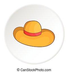Women beach hat icon, cartoon style - Women beach hat icon....