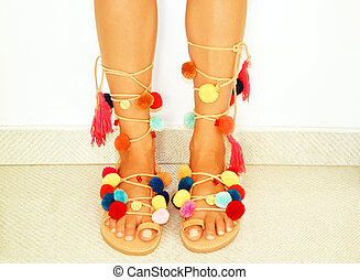 pom pom bohemian sandals - greek leather bohemian sandals...