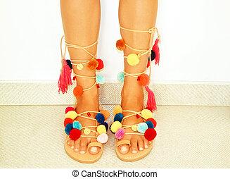pom pom bohemian sandals - greek leather bohemian sandals...