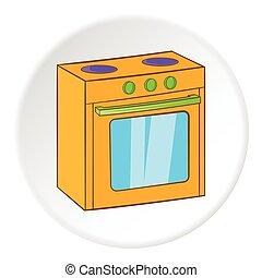 Gas stove icon, cartoon style - Gas stove icon Cartoon...