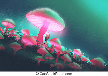 man in the big mushrooms forest