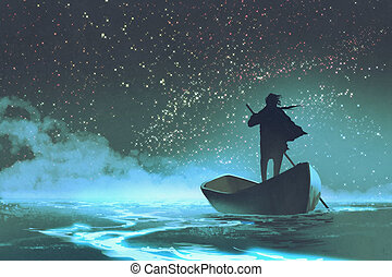 man rowing a boat in the sea under beautiful sky with...