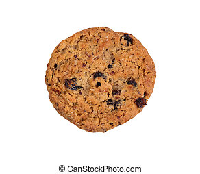 Whole oatmeal raisin cookie isolated on white background