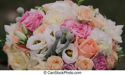 Luxurious wedding bouquet. Close up in full HD