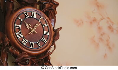 Luxurious antique clock on the wall in full HD