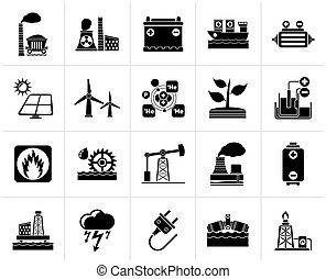 Electricity and Energy source icons - Black Electricity and...