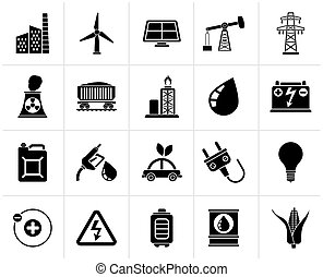 energy and electricity icons - Black Power, energy and...