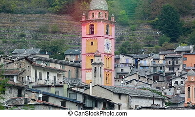 Medieval Tower of a French Church - Clock on the Wall of a...