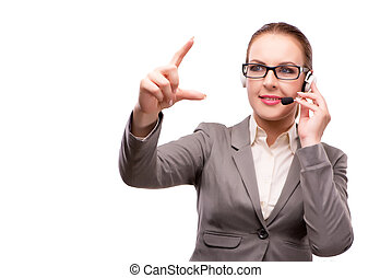 Call center operator isolated on white background