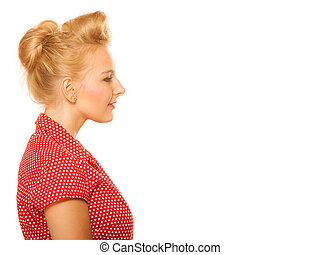 Pin-up blond girl with retro hair bun isolated - Portrait of...