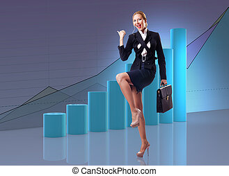 Busineswoman wth charts in business concept