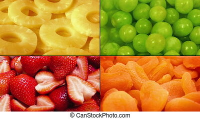 Delicious Fruit Rotating Montage - Closeup of juicy fruits...