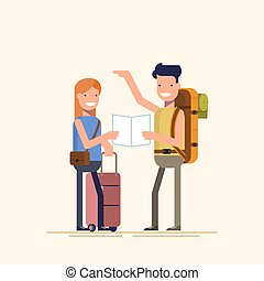 Two travelers are choosing a route map. A guy and a girl can not decide where to spend a holiday or weekend. Difficult choice. The family during the holidays. Vector illustration in a flat style.