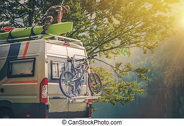 Ultimate RV Escape. Outdoor Men and His Camper Motorhome....