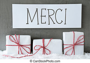 White Gift On Snow, Merci Means Thank You - Label With...