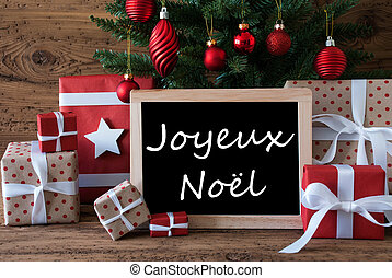 Colorful Tree, Joyeux Noel Means Merry Christmas - Colorful...