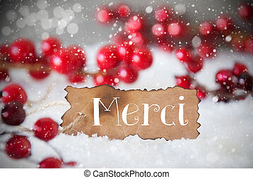 Burnt Label, Snow, Snowflakes, Merci Means Thank You - Burnt...